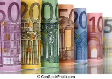note, riflessione, euro
