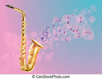 note, sassofono, musicale