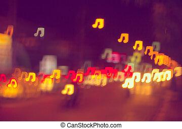 note, sfocamento, luci, bokeh, musica, fondo
