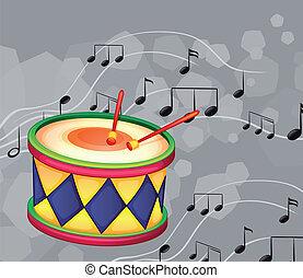 note, tamburo, musicale