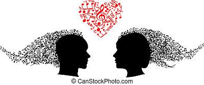 note, teste, musicale, persone