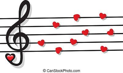 note, triplo, cuore, chiave, doga