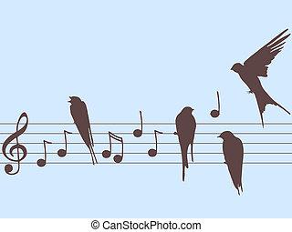 note, vettore, musica, uccelli
