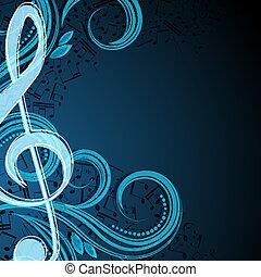 note, vettore, musicale, fondo