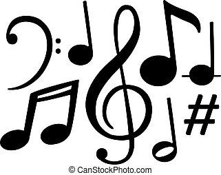 note, vettore, simboli, musica, nero