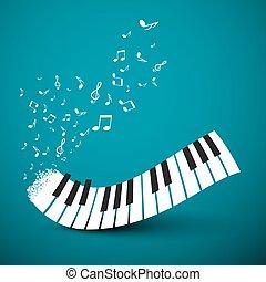 note, volare, astratto, fondo., vettore, musica, pianoforte, keyboard.