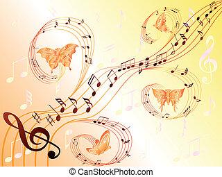 note, volare, doga, farfalle, musicale