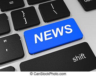 notizie, chiave computer portatile, computer., tastiera
