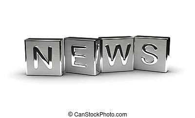 notizie, metallo, testo