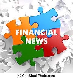 notizie, multicolor, finanziario, puzzle.
