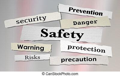 notizie, rischio, titoli, sicurezza, illustrazione, prevenzione, sicurezza, 3d