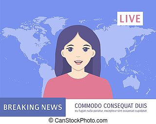 notizie, rottura, donna, concept., notizie ancorano, annunciatore, anchorwoman, radiodiffusione, news., rapporti, vivere, titolo, tv