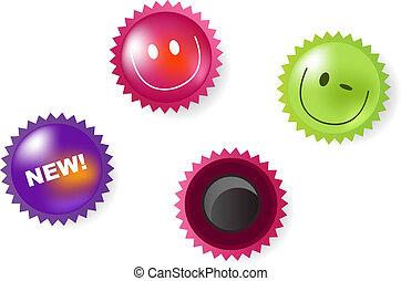notizie, sorridente, magneti, icone
