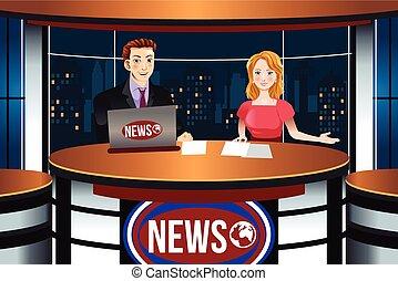 notizie tv, ancorare, illustrazione
