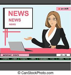 notizie tv, donna, ancorare, testata