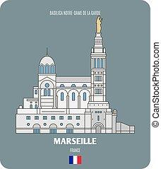 notre-dama, la, francia, basilica, marseille, de, garde