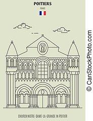 notre-dame-la-grande, france., poitier, chiesa, punto di riferimento, icona
