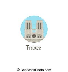 notre, francia, punto di riferimento, dama, rotondo, icona