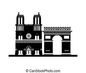 notre, monumento, arco, dama, trionfo, cattedrale, francia