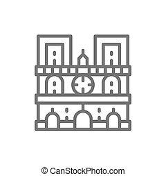 notre, parigi, francia, cattedrale, punto di riferimento, linea, icon., dama