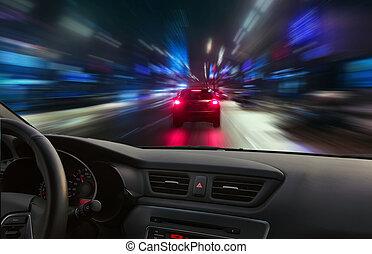 notte, ad alta velocità, movimento
