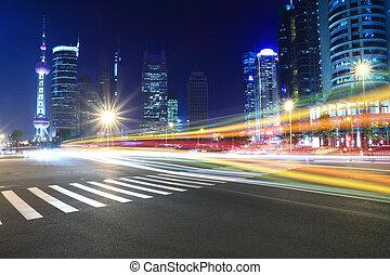 notte, architettura, fondo, traccia, luce, moderno