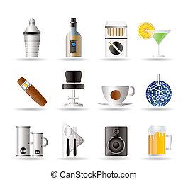 notte, bevanda, sbarra, club, icone