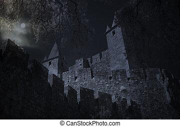 notte, castello, luna, pieno, medievale