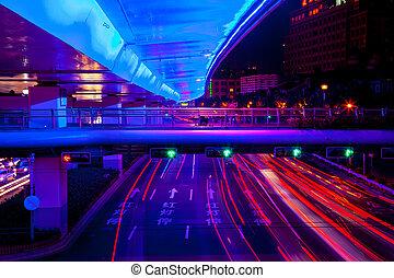 notte, centrale, blu, strada, traffico, autostrada, china., spia verde, piste, rosso, sciangai, automobili