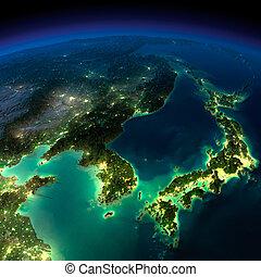 notte, earth., -, corea, pezzo, porcellana, giappone, asia