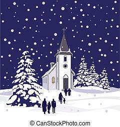 notte, inverno, chiesa