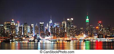 notte, orizzonte, panorama, città, york, nuovo