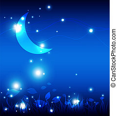 notte, paesaggio, luna