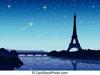 notte, parigi, punto di riferimento, torre, vista, pieno, fiume, eifel, famoso, mondo, lato, stella