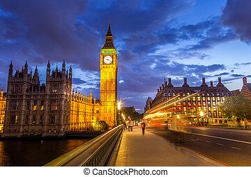 notte, parlamento, londra, ben, ponte, inghilterra, grande, westminster