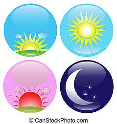 notte, set, giorno, icone