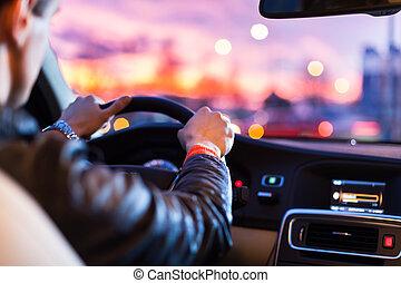 notte, suo, guida, automobile, moderno, -man