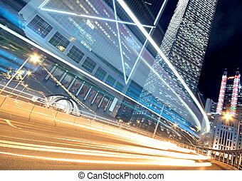 notte, traccia, fondo, moderno, hongkong, architettura, china., luce