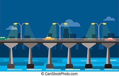 notte, vista, città, ponte, moderno, illustrazione