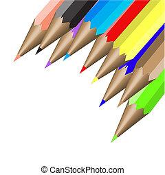 nove, colorare, matite, illustrazione, vettore
