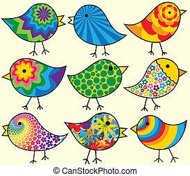 nove, uccelli, colorito
