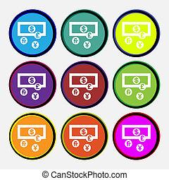 nove, valute, multi colorato, buttons., icona, mondo, segno., rotondo