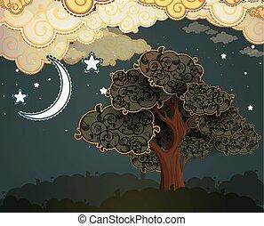 nubi, albero, cartone animato, luna