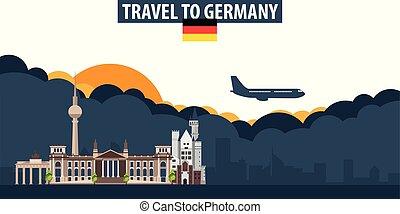 nubi, banner., sole, viaggiare, fondo., aeroplano, turismo, germany.