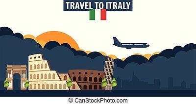 nubi, banner., sole, viaggiare, italy., fondo., aeroplano, turismo