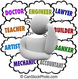 nubi, carriera, scelte, pensiero, pensatore, domandare, occupazione