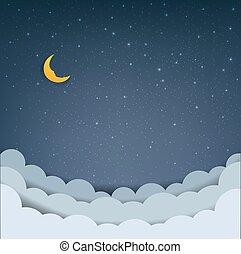 nubi, cartone animato, cielo, stelle