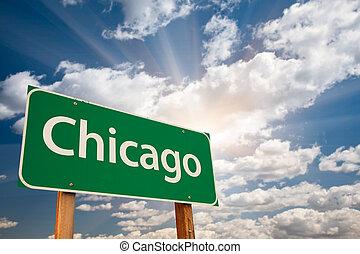 nubi, chicago, sopra, segno, verde, strada