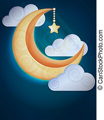 nubi, fondo, luna