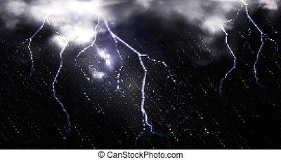 nubi, lampo, cielo, notte, pioggia